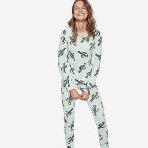 VS PINK Cactus Christmas Waffle Knit Pajamas